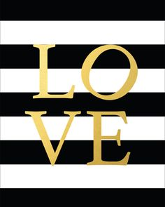 Black and White Striped Gold Love Sign Printable by CraftMei