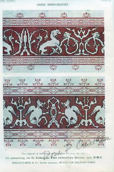 This classic pattern book contains many Assisi embroidery designs and general directions on how to work this style of hand embroideries, featuring 23 color plates. Blackwork Embroidery, Cross Stitch Embroidery, Embroidery Patterns, Hand Embroidery, Plan Bee, Altar Cloth, Square Patterns, Pattern Books, Cross Stitch Designs