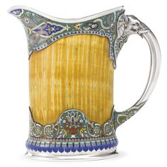 Gorham sterling, ivory and enamel pitcher in an Indian style, with a great elephant motif on the handle, c1897 (Sotheby's)