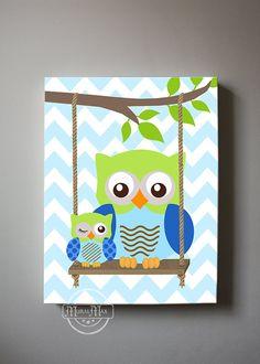 Chevron Owl Nursery Art Owl Nursery Decor Canvas Art  Blue
