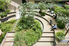 Landscape And Urbanism, Landscape Architecture Design, Urban Landscape, Atrium Garden, Indoor Garden, Plaza Design, Mix Use Building, Cafe Interior Design, Parking Design