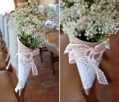 DIY wedding decoration with lace doilies made of paper and gypsophila wedding decor holz saal selber machen tisch wedding decor wedding decor decor diy decor ideas decoration Wedding Colors, Wedding Flowers, Aisle Flowers, Wedding Ceremony, Wedding Venues, Wedding Cakes, Summer Wedding, Wedding Day, Church Wedding Decorations