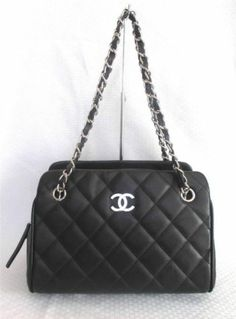 c10b405417 Immaculate Chanel Black Caviar Leather Shoulder Bag Purse Small Tote Chain  Strap
