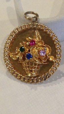 Vintage-AC-14k-Gold-Flower-Basket-Charm-Pendant..