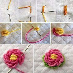 Crochet Gifts - Crochet Flower Tutorial How to crochet flower - Knitting Bordado Brazilian Embroidery Stitches, Crewel Embroidery Kits, Embroidery Stitches Tutorial, Embroidery Flowers Pattern, Simple Embroidery, Learn Embroidery, Hand Embroidery Designs, Embroidery Techniques, Ribbon Embroidery