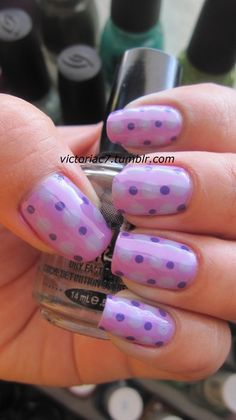 more polka dots! Lol Colors Used: OPI - Funky Dunkey Essence - No More Drama Sally Hansen Insta-Dri - Lively Lilac Get Nails, Love Nails, Pretty Nails, Hair And Nails, Dot Nail Art, Polka Dot Nails, Polka Dots, Lilac Nails Design, Nails Plus