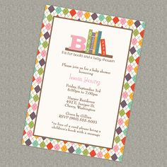 Book Baby Shower Invitation - in lieu of a card please bring a children's book with a message