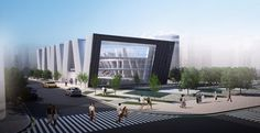 The G_Library in Daegu Gosan Community by Hong Kong-based TheeAe Rkitecs, is a proposal for the South Korea Library International Competition. Daegu, Modern Buildings, Modern Architecture, Mall Design, Library Design, Design Competitions, Santa Monica, South Korea, Hong Kong