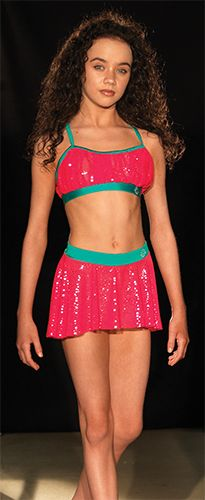 **NEW SPECIAL OFFER PRICE! ** Strawberry Sparkle by 'Tayluer Made' designed with Tayluer and manufactured by www.danceforce.co.uk 'Sparkle' like Tayluer in this gorgeous top and skort set made in green Nylon/Lycra® with a silver spotted red stretch mesh. The camisole crop top has a flattering gathered style and the boy shorts feature an attached dipped hem skirt. Both garments feature Tayluer's logo.