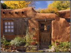 Santa Fe New Mexico Adobe architecture with their old wooden doors and windows.