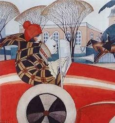 It's freezing in Copenhagen today! Gerda Wegener's well-dressed garçonne is also out in cold, windy weather in this beautiful art deco-work from Girl and Pug in an Automobile (sketch for front page illustration in Vore Damer, Art Nouveau Pintura, Arte Art Deco, Art Deco Illustration, Illustrations, Retro Poster, Poster Vintage, Vintage Prints, Einar Wegener, Art Amour