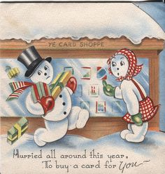 Vintage Christmas Card: Snowmen Looking for a Christmas Card