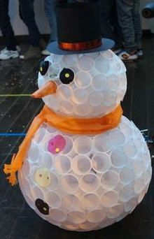 Yes, you can make a snowman with soft stuff like cotton or even white plastic cups! Unlike an actual snowman, a plastic cup snowman will never melt, Make A Snowman, Snowman Crafts, Christmas Projects, Holiday Crafts, Holiday Fun, Snowman Cup, Snowman From Cups, Christmas Ideas, Snowman Decorations