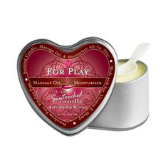 NEW! Earthly Body Massage Candle For Play 4.7 oz. (Heart)  Hand poured, fragrant natural soy candle in a heart-shaped tin melts into a warming, silky massage oil. Made from natural oils, hemp seed and Vitamin E. Leaves skin soft and smooth. #Nalpac #EathlyBody #BuyWholesale @Julie Perez Body Inc. www.nalpac.com