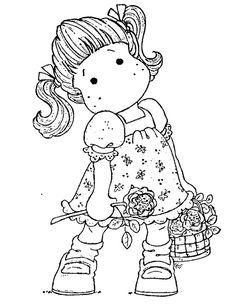 Tilda with rose and basket.