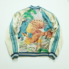 Sexy Dope Chic Vintage Japanese Classic Script Japan Turquoise Bonsai Waterfalls Gold Eagle Hawk Taka Washi Tattoo Art Embroidery Embroidered Bomber Sukajan Souvenir Jacket (SIZE: M ) - Japan Lover Me Store