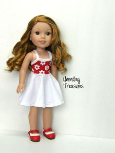 14 inch doll clothes AG doll clothes daisy sun dress made to fit like wellie wishers doll clothes by Unendingtreasures on Etsy