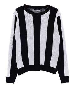 Vertical Stripes Round Neckline Pullover