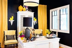 Black Yellow And White Contemporary Home Office Offices
