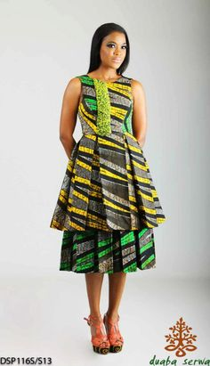 Green and yellow combo African dress