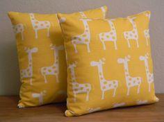 Handmade Bright Yellow & White Giraffe Pillow Cover via Etsy