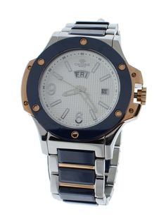 Oniss ON612-MWTBU Men's Watch Blue Ceramic & Stainless Steel Band White Dial