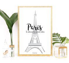 Illustration affiche Paris, Affiche Tour Eiffel, Affiche Paris, Affiche citation, Décoration murale, Affiche maison, Affiche noir et blanc par MonRosePompon sur Etsy https://www.etsy.com/fr/listing/266768702/illustration-affiche-paris-affiche-tour