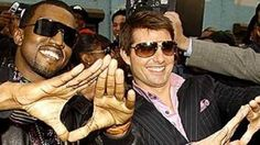 kanye-west and tom cruise with Illuminati satanic hand sign. These guys soul is full of shit...Satan's worshippers..!