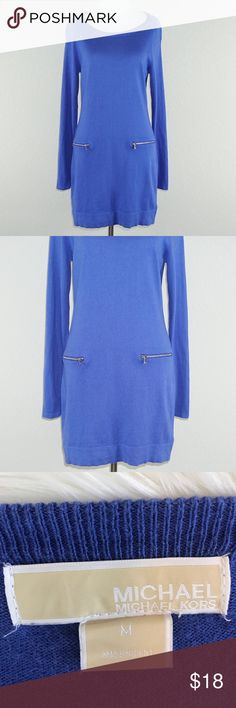 """Michael Kors Royal Blue Tunic Size: Medium Condition: Pre-owned; Great- No stains or rips Material: 50% Cotton 25% Rayon 25% Nylon Measurement (Approx. when flat): Length 31"""" Bust 17"""" Sleeve 26"""" Features: Front pockets  Please check out my other designer items! Michael Kors Tops Tunics"""