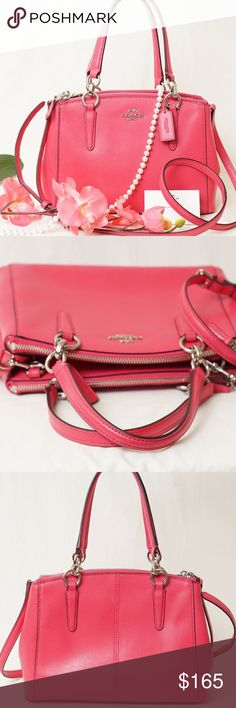 """💞💞NWOT COACH Mini Christie Crossbody 57265M Bag ‼️New without tags‼️Absolutely FABULOUS!! Beautifullycrafted with luxurioussoftleather. This Coach crossbody adds a chic and effortless way to beautify your everyday look or finish your luxurious outfit.  AUTHENTIC❣️LEATHER ❣️FAST SHIPPING!❣️MAKE AN OFFER  Color : Amaranth Pink Measurements Approx :  10 1/2"""" (L) x 7"""" (H) x 4"""" (W)  Inside zip pocket  Handle with 5 3/4"""" drop  Detachable strap with 23 1/2"""" drop for shoulder or cross-body wear…"""