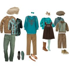 """""""Family Fall: Teal & Brown"""" What to Wear by cribtales on Polyvore"""