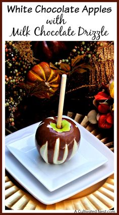 Indulge in delicious gourmet apples without paying store price! Easily make your own yummy homemade white chocolate apples with milk chocolate drizzle!