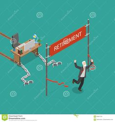 retirement-vector-flat-isometric-illustration-man-was-chained-to-his-work-desk-was-pulling-many-years-finally-has-82827755.jpg (1300×1390)