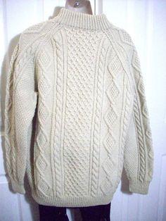 Irish Aran Fisherman knit sweater Cable 100% wool  Men's M / L Ireland  #Bloomingdales #AranIrishFisherman