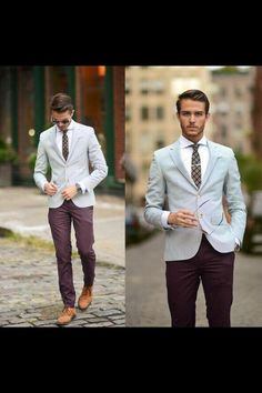 Similar Here > Blazer, Ted Baker Tie, Topman Plum Trousers, Similar With Monk Strap > Oxfords, Tie Bar - NYFW 3 - Adam Gallagher Sharp Dressed Man, Well Dressed Men, Look Fashion, Mens Fashion, Races Fashion, Fashion 2017, Look Formal, Business Mode, Herren Outfit