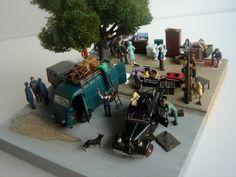 Automobile, Model Train Layouts, Model Trains, Scale Models, Miniatures, Building, Car, Garage, Military