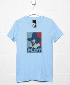 Guy Fawkes T Shirt - Plot - Light Blue / Large