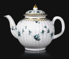 A Bristol teapot and cover, circa 1773-75 There are examples of Giles-decorated Chinese porcelain with the same gilt border. The border also appears on a New Hall cup signed 'F. Duvivier fecit', 'Four or five pointers to the possibility that Fidelle Duvivier worked for James Giles',