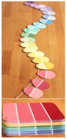 DIY Paint Chip Easter Garland - Modern Parents Messy Kids - Education Assistant - Easter Egg GArland made from Paint chips - Easy Easter Crafts, Easter Art, Easter Crafts For Kids, Crafts To Do, Easter Eggs, Easter Ideas, Easter Table, Easter Recipes, Diy Easter Toys