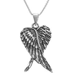 Journee Sterling Silver Oxidized Angel Wings Necklace (45 CAD) ❤ liked on Polyvore featuring jewelry, necklaces, accessories, white, feather necklace, feather pendant necklace, white necklaces, sterling silver angel wing necklace and pendant necklace