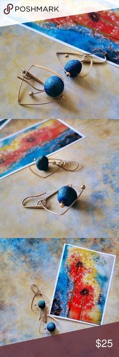 """""""Endless Cosmos"""" lead/nickel/allergen free zinc alloy plated in gold, Spar stone naturally rounded, funky geometric design pattern for an individual look. Bundle to get discount. TSH Jewelry Earrings  #JewelryEarrings"""