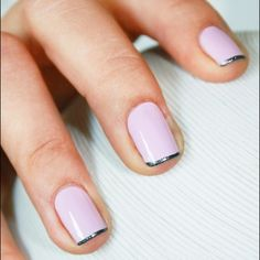 Ballerina pink nails with subtle silver tips make for an easy but modern French manicure. via @Polyvore