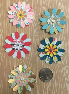 "Handmade 2"" Paper Flowers With 1"" Flower Centers - 5 Count Pack by cemFLORAL on Etsy"