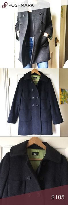 Like new J Crew wool coat Beautiful double breasted winter coat. 100% will with smooth 100% silky acetate lining. All buttons intact. No visible signs of ware. Dark charcoal gray/ black. J. Crew Jackets & Coats Pea Coats