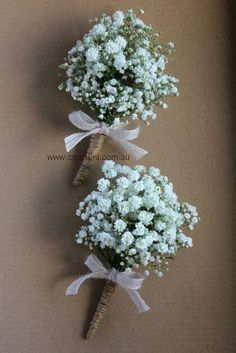 Hochzeit Deko Rustic Wedding Flowers Babys Breath - babies breath corsages with twine binding and ru Vintage Wedding Flowers, Flower Bouquet Wedding, Corsage Wedding, Babysbreath Bouquet, Rustic Wedding Bouquets, Ribbon Wedding, Flower Corsage, Bride Bouquets, Bridesmaid Bouquet