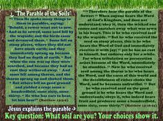 """""""The Parable of the Soils""""  (Matthew 13:3-9) Jesus explains the parable: (Matthew 13:18-23) Key question: What soil are you? Your choices show it."""