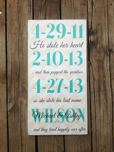 Personalized special dates sign-  by Hawkinscreations