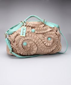 $32.99 Take a look at this Turquoise Raffia Weekender by Chocolate New York on #zulily today!