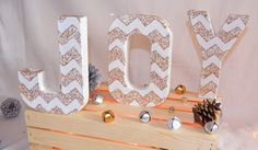JOY Paper Mache Letters Mantle Decor, do for diff words and holidays