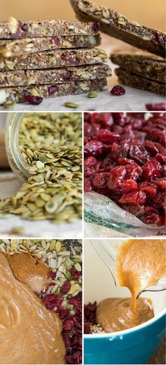 I want to eat these! Soft & Chewy Sugar Free Baked Granola Bars ( Replace oats with almond flour ). So easy to adjust for my food allergies! Healthy Sweet Snacks, Healthy Bars, Vegan Snacks, Healthy Dinner Recipes, Vegetarian Recipes, Snack Recipes, Breakfast Healthy, Breakfast Recipes, Breakfast Bars